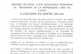 MESSAGE DE VŒUX A SON EXELLENCE MONSIEUR LE PRESIDENT DE LA REPUBLIQUE, CHEF DE L'ETAT A L'OCCASION DU NOUVEL AN 2020
