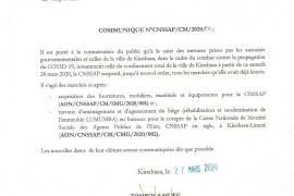 COMMUNIQUE N°CNSSAP/CM/2020/04