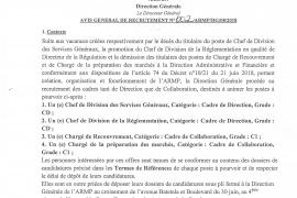 AVIS GENERAL DE RECRUTEMENT N°002/ARMP/DG/08/2018